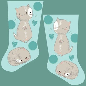 Mini blue kitties stocking