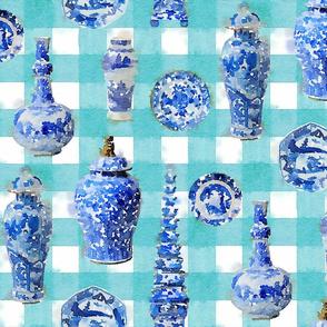 Large Chinoiserie Ceramics on Turquoise Buffalo Plaid