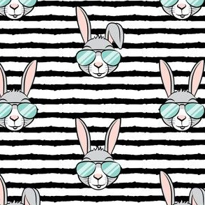 easter bunny with sunnies - black stripes - bunnies LAD19