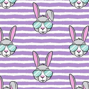 easter bunny with sunnies - purple stripes - bunnies LAD19