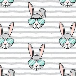 easter bunny with sunnies - grey stripes - bunnies LAD19