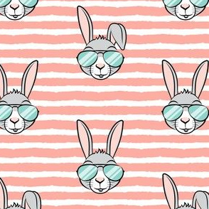 easter bunny with sunnies - light coral stripes - bunnies LAD19