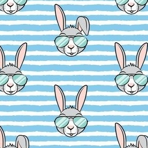 easter bunny with sunnies - blue stripes - bunnies LAD19