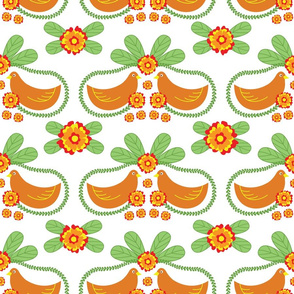 Floral Folk Pattern with Birds