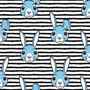 easter bunny - blue on black stripes - bunnies LAD19