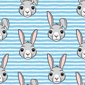 easter bunny - blue stripes - bunnies LAD19