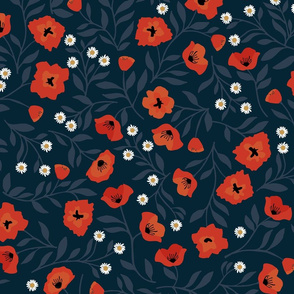 "Nouveau Poppy Garden { 21"" x 21"" pattern square }"