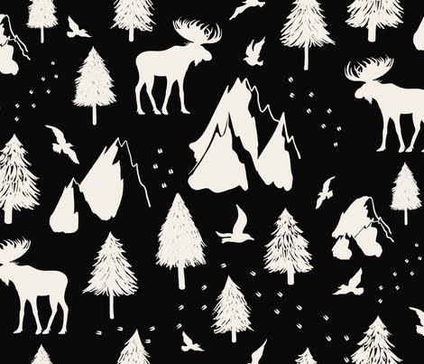 Moose Pass - Cream on Black fabric by beala_designs on Spoonflower - custom fabric