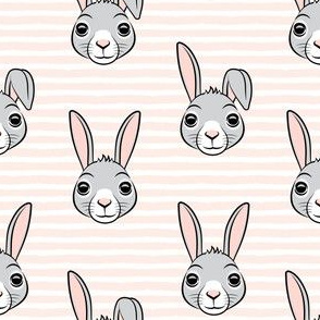 easter bunny - light pink stripes - bunnies LAD19