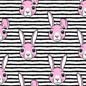 easter bunny - pink on black stripes - bunnies LAD19