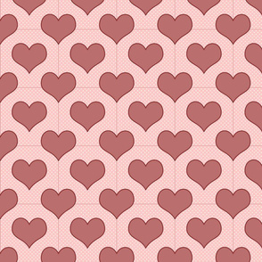 Rosey Red Hearts & Dots on Pink