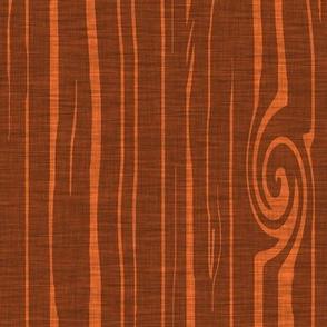 Weathered woodgrain - campfire orange