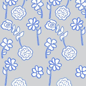 Floral Waves - Silver and Blue