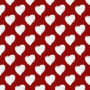 Watercolor Hearts White On Red