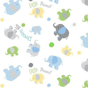 Dream BIG Little Peanut dotty gray elephant polka dot around -  MED7