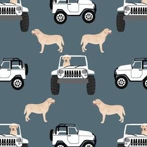 yellow lab adventure fabric - outdoors fabric, dog, dogs, dog fabric, labrador fabric - blue grey