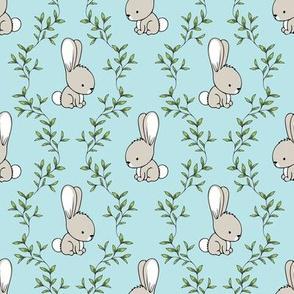 cute bunnies - blue - easter spring - LAD19