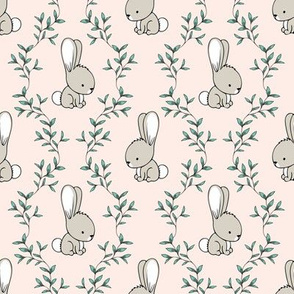 cute bunnies - pale pink - easter spring - LAD19