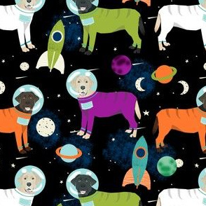 space labrador fabric - space dogs, dogs in space, labrador space fabric, rockets fabric, moon landing fabric, dogs - black