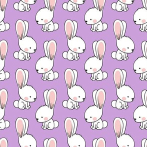 bunnies - spring easter fabric - purple LAD19