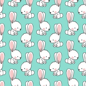 bunnies - spring easter fabric - teal LAD19