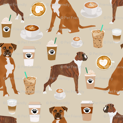 SMALL - boxer dog coffee fabric - boxers  and coffees - tan