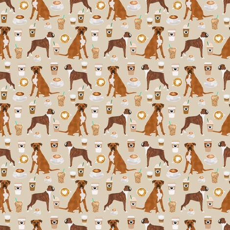 SMALL - boxer dog coffee fabric - boxers  and coffees - tan fabric by petfriendly on Spoonflower - custom fabric