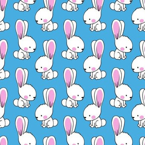bunnies - spring easter fabric - blue LAD19