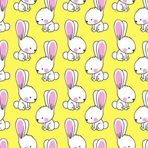 bunnies - spring easter fabric - yellow  LAD19