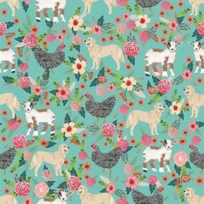 golden retriever, chicken, goat  fabric florals