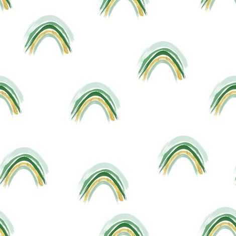 "8"" Emerald Rainbows // White fabric by hipkiddesigns on Spoonflower - custom fabric"