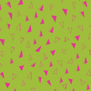 Tumbling Triangles larger fuschia on lime 3000x3000-01