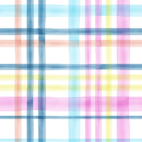 Easter Watercolor Plaid multi LAD19 fabric by littlearrowdesign on Spoonflower - custom fabric