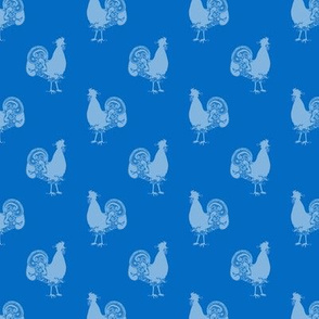 Blue Roosters on Blue