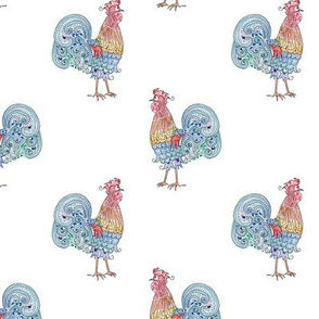 Rooster Repeat on white
