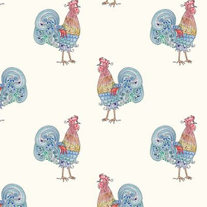 Rooster Repeat on cream