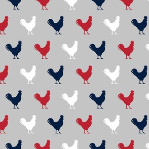 red, navy, and grey roosters LAD19