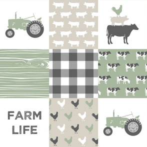 Farm Life Wholecloth - Farm themed patchwork fabric - cows, pigs, roosters - sage and tan LAD19