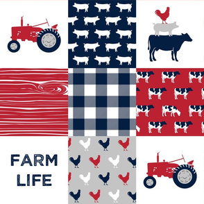 Farm Life Wholecloth - Farm themed patchwork fabric - cows, pigs, roosters - navy, red, and grey LAD19