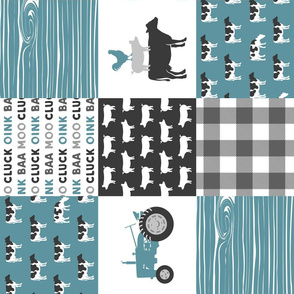 Farm Life Wholecloth - Farm themed patchwork fabric - cows, pigs, roosters - blue and grey LAD19 (90)