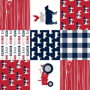 Farm Life Wholecloth - Farm themed patchwork fabric - cows, pigs, roosters - navy, red, and grey LAD19 (90)