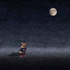 Super Cat with Moon
