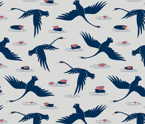 blue swans fabric by uramarinka on Spoonflower - custom fabric