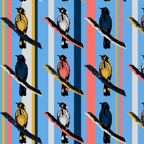 Birds on Branches - Coral and Blue