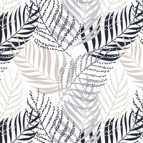 Gray, beige palm leaves on white background.