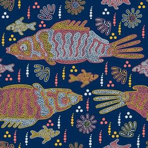 Australian Aboriginal Art Inspired. River night life