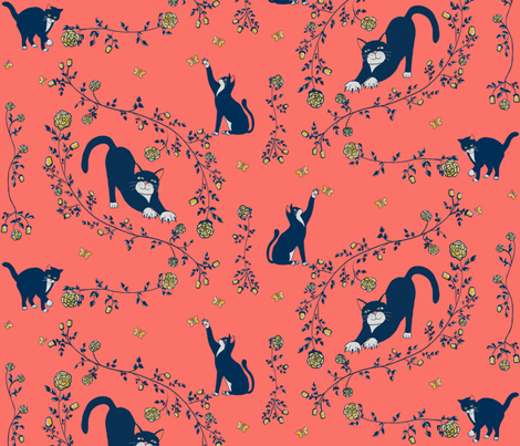 Cats and gold roses fabric by kasandra_rysuje on Spoonflower - custom fabric