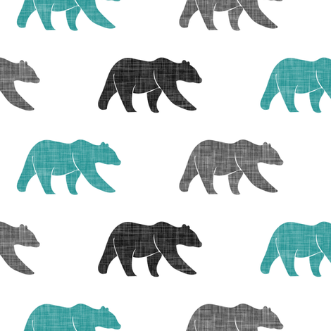 multi bears - dark teal, black, grey C19BS fabric by littlearrowdesign on Spoonflower - custom fabric
