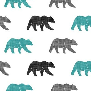 multi bears - dark teal, black, grey C19BS