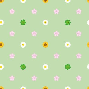 Mini Spring Flowers Polka Dot (Green)